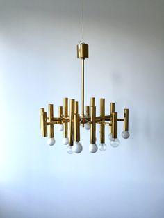 Vintage Krohnleuchter, Hängelampe, Deckenlampe, Gaetano Sciolari, Designer Lampe von moovi auf Etsy