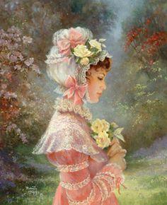 Victorian Paintings of Women ~ Brenda Burke, artist Victorian Paintings, Victorian Art, Victorian Women, Vintage Pictures, Vintage Images, Vintage Prints, Vintage Art, Foto Vintage, Vintage Ladies