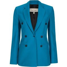 Paul Smith Women's Turquoise Cotton-Ramie Double-Breasted Blazer (8 985 SEK) ❤ liked on Polyvore featuring outerwear, jackets, blazers, blue double breasted blazer, color block blazer, color block jacket, colorblock blazer and tailored jacket