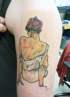 Egon Schiele tattoo by Ben Pease, Pino Bros Ink, Cambridge MA