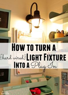 How to turn a hard wired light fixture into a plug in fixture: featuring an outdoor light fixture turned indoor wall sconce used in our Command Center closet. Wire Light Fixture, Outdoor Light Fixtures, Diy Projects To Try, Home Projects, Indoor Wall Sconces, Reno, Do It Yourself Home, The Ranch, Just In Case