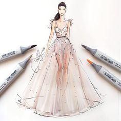 @moniquelhuillier sketched with @copicmarker #nyfw #moniquelhuillier #nyfw16…