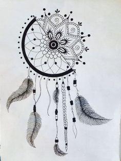 Dreamcatcher sketch design unique 1 2 dream catcher 1 2 mandala for future reference photograph of Mandala Do Sol, Mandala Design, Mandala Art Lesson, Atrapasueños Tattoo, Tattoo Drawings, Art Drawings, Tattoo Moon, Tattoo Forearm, Samoan Tattoo