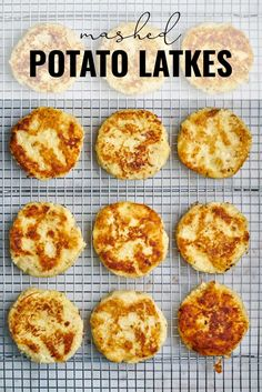 Pan-fried Potato Latkes use mashed potatoes instead of grated potatoes for the perfect crispy-outside soft-inside Chanukah treat. #chanukah #latkes