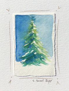 Christmas tree card original painting handmade card