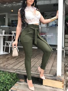 Apr shop solid pocket design pencil pants with belt right now, get Sexy Outfits, Night Outfits, Classy Outfits, Chic Outfits, Fall Outfits, Summer Outfits, Casual Chic, Fashion Pants, Fashion Dresses