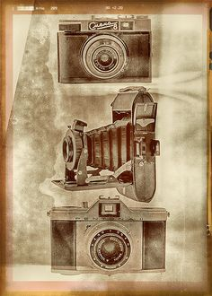 Old cameras, Vintage poster.  QUALITY AND DETAILS ►Paper- Silk Matt 255 g/m² Premium Photo paper ►Best professional printer Epson Stylus Pro 9900