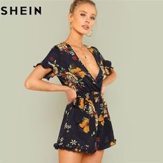 b78b1d0b3b62 SHEIN Summer Beach Boho Print Deep V Neck Mid Waist Playsuits Women Flounce  Sleeve Tie Waist