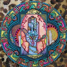 Just Give Me Peace: Blue Henna Hand, Singleton Hippie Art