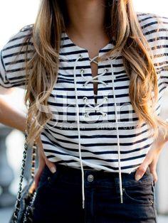 Camiseta rayas cuello con cinta-(Sheinside)