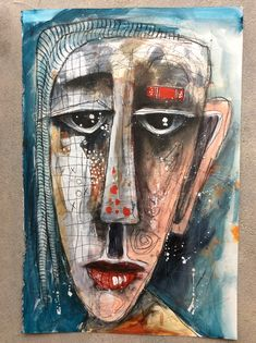 """""""Serious Gal"""" 12x18"""" Abstract Painting Techniques, Art Techniques, Painting & Drawing, Abstract Face Art, Guache, Funky Art, Arte Pop, Art Studies, Art Journal Inspiration"""
