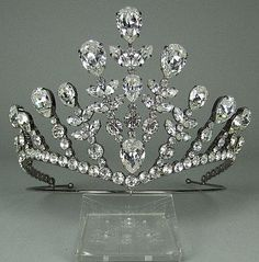 A silver plated and crystal tiara of Tudor design.