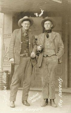 Joe Gillan and Roy Hardesty (with pipe) of the Texas Rangers, photographed in Mexia, Texas in 1923.
