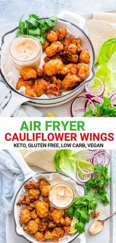 AIR FRYER CAULIFLOWER WINGS RECIPE These Buffalo Cauliflower Wings { Air fryer } are just too good and easy to make in just 25 minutes! Serve them as an appetiser or along with salad vegetables inside a wrap – Either ways it is just so delicious. #cauliflower #cauliflowerwings #hotwings #buffalowings #airfryer #appetiser #gamesnight #thanksgiving
