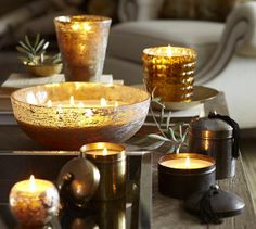 Boutique Rough Mercury Glass Scented Candle Pots traditional-candles-and-candle-holders Candle Lanterns, Candle Jars, Candle Holders, Glass Candle, Pottery Barn Christmas, Mercury Glass, Glass Ornaments, Scented Candles, People