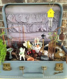Little Fairy Garden in a vintage suitcase