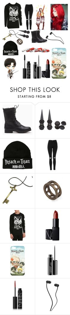 """•Attack On Titan•"" by clique-as-frick ❤ liked on Polyvore featuring Topshop, Kelly Wearstler, NARS Cosmetics and MAC Cosmetics"