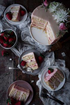 Vegan Vanilla Cake with Strawberry Buttercream | Gluten-free variation included!
