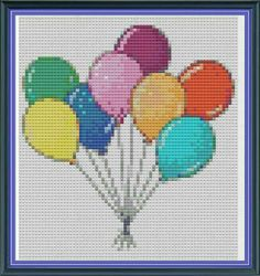 Items similar to Cross Stitch Pattern Party Balloons - Cute cross stitch on Etsy Cross Stitch Love, Cross Stitch Fabric, Beaded Cross Stitch, Cross Stitch Borders, Crochet Cross, Cross Stitch Designs, Cross Stitching, Cross Stitch Patterns, Embroidery Stitches