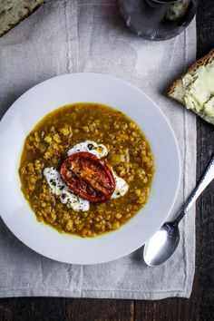 Roasted Tomato and Lentil Soup with Saffron