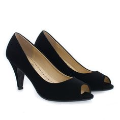 Dress up any outfit with these classic dress pumps, featuring a peep toe opening, contrast stitching, an extra padded insole, and an approximate 3.25 inch heel. (Please note that these measurements are based on a size 7). Style runs small, suggested to purchase a half size bigger. Available in Black Pu, Black Nubuck, Dk Beige Pat, White Pat, etc. All man made materials. By Aquapillar.
