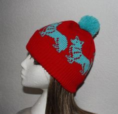 Red Pompom Beanie Hat with Corgi Dogs by lemarousse on Etsy