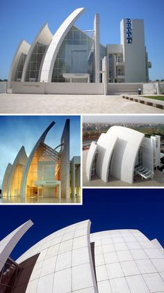 Jubilee Church, also known as the Parisch Church of Dio Padre Misericordioso in Rome, Italy. Designed by Richard Meier and completed in the year 2000, the church features a trio of soaring concrete arches which represent the Holy Trinity.