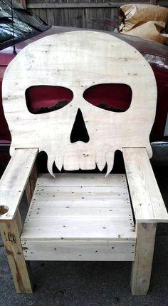 Wood Pallet Skull #Chair   101 Pallet Ideas