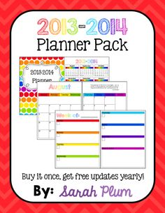 """Hate having to buy a new planner every year -- or more than once a year if you """"mess it up""""? Buy this printable planner (with blackline masters AND editable covers) ONCE and receive yearly updates, for free!"""