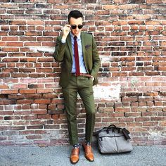 Olive Drab Green Suit. Blazer Jacket, Pants