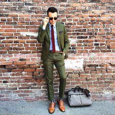 Olive Drab Green Suit. Blazer Jacket, Pants