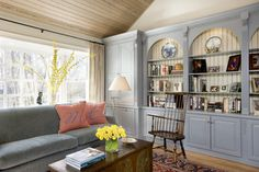 12 Ideas for Decorating with Soft Colors - Town & Country Living Eclectic Living Room, Living Room Decor, Blue And White Living Room, Family Room Addition, Blue Cabinets, Cupboards, Room Additions, Soft Colors, Built Ins