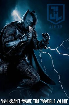 Justice League movie poster Batman with lightning background - DigitalEntertainmentReview.com