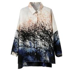Turn-Down Collar Forest Single-Breasted Long Sleeves Irregular Design Women's Blouse, AS THE PICTURE, L in Blouses | DressLily.com