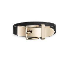 "Karla Hermes leather bracelet (Size S) Black chamonix calfskin Permabrass plated hardware, 6.7"" circumference."