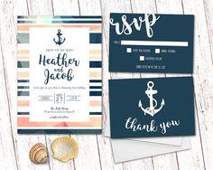 Wedding Invitation Nautical Wedding by SprinklesAndLaceCo on Etsy