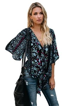 1c8310737a0 US  8.63-Black Flowery Print Tie Front Kimono Sleeve Blouse Dropshipping V  Neck Blouse