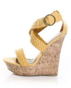 Lulu's Paprika Suburb Mustard Yellow Unbe-weave-able Platform Wedges $29.00