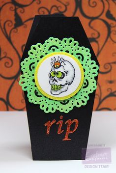 Designed by Lori Barnett. Stamp set from Crafter's Companion - Happy Haunting. Die'sire Dies from Crafter's Companion. Black Coffin Notecard from Crafter's Companion. Neon Ink, Fireworks Spray, Spectrum Noir Markers CG3, CT3, OR1, OR2, IG1, IG2 and IG3 @CraftersCompUS @spectrumnoir