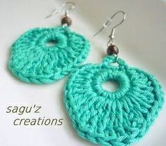 Persian green crocheted earring with 100% cotton yarn Each piece of my jeweleries is handcrafted by me. $12.