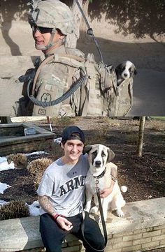 Puppy found in combat. http://www.dailymail.co.uk/news/article-2091221/Donny-Eslinger-Wounded-soldier-reunited-puppy-rescued-Afghanistan.html