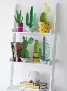 Create cute 3D paper cacti in hand painted pots, as seen in Essentials magazine, May 2015