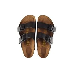 birkenstock arizona sandals (165 CAD) ❤ liked on Polyvore featuring shoes, sandals, flats, black, black shoes, flat heel shoes, flats sandals, black flat shoes and black sandals