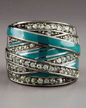 MCL by Matthew Campbell Laurenza Pave Green Sapphire & Enamel Ring