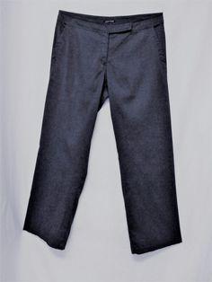 Eileen Fisher Sz 14 ASH GRAY LINEN BLEND LIGHTWEIGHT STRAIGHT LEG STRETCH PANTS #EileenFisher #CasualPants
