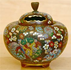 Japanese Cloisonne Finely Executed Floral Covered Jar with Pierce Lid Meiji