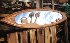 Surfboard mirror made from birch or spruce wood by Wayne Willetts