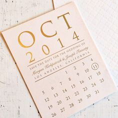 Pink and gold calendar save-the-date card, price available upon request, Copper Willow