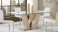 "Global D2123DT Dining Table - Wooden dining table with glass top. Dimensions: L71"" x D41"" x H30""."