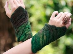felted accessories felt cuffs hand warmers  Merino Wool - Emerald Bark. $75.00, via Etsy.  GORGEOUS COLOR!